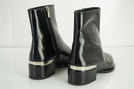 Vince Shiny Leather Zip Metal Black Boots Image 6