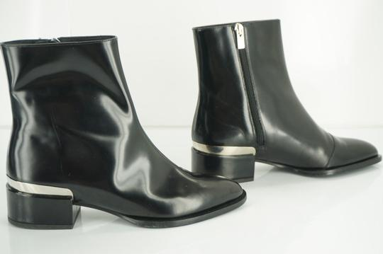 Vince Shiny Leather Zip Metal Black Boots Image 8