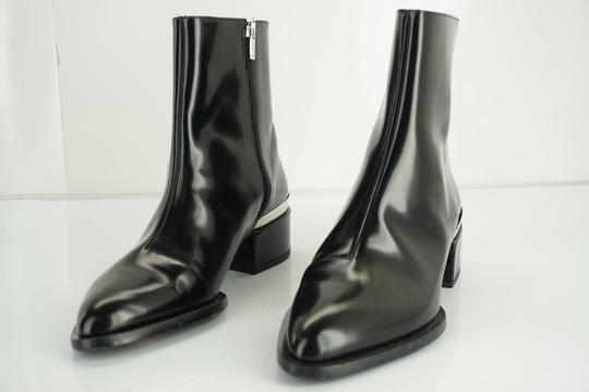 Vince Shiny Leather Zip Metal Black Boots Image 9
