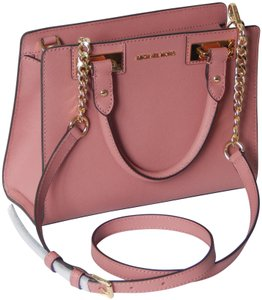 Michael Kors Saffiano Leather Satchel in Rose