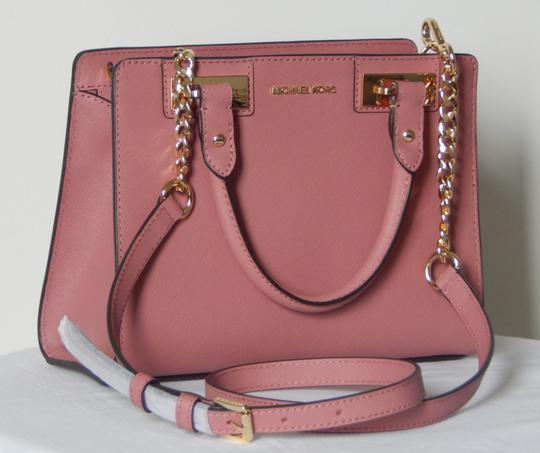 Michael Kors Saffiano Leather Satchel in Rose Image 1