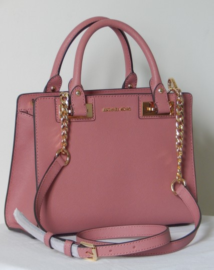 Michael Kors Saffiano Leather Satchel in Rose Image 2