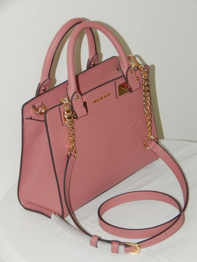 Michael Kors Saffiano Leather Satchel in Rose Image 3