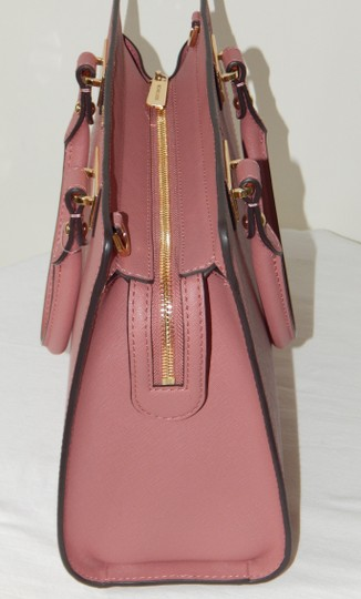 Michael Kors Saffiano Leather Satchel in Rose Image 4