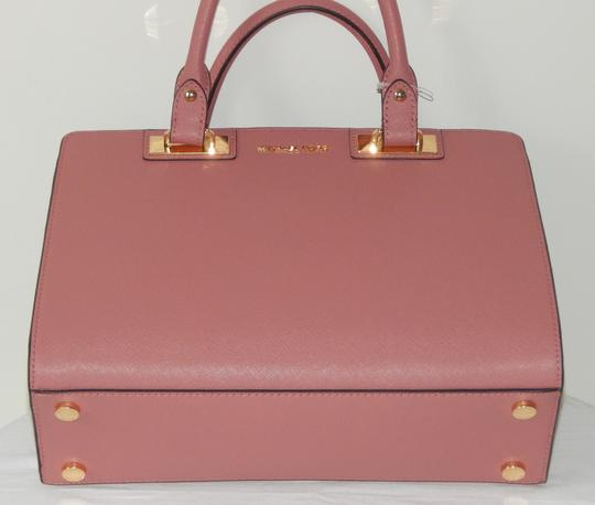 Michael Kors Saffiano Leather Satchel in Rose Image 6