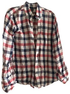 Vince Button Down Shirt red white blue