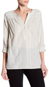 Joie Cotton Silver Pinstriped Popover Top