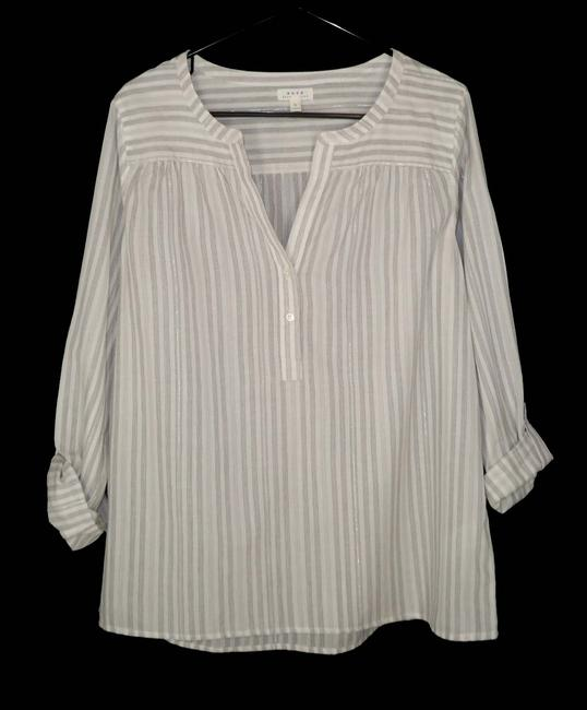 Joie Cotton Silver Pinstriped Popover Top Image 1