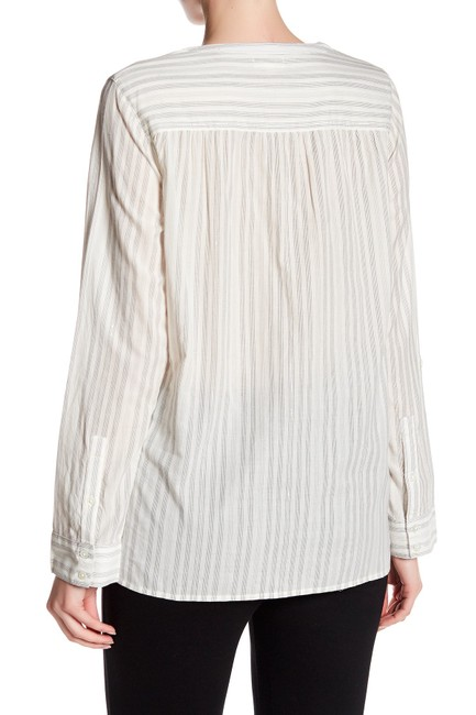 Joie Cotton Silver Pinstriped Popover Top Image 2