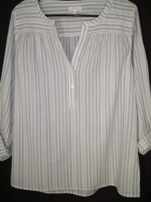 Joie Cotton Silver Pinstriped Popover Top Image 3