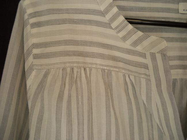 Joie Cotton Silver Pinstriped Popover Top Image 5
