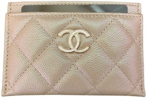 Chanel Beige Iridescent Quilted Leather Card Holder