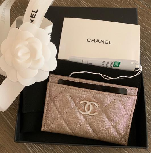 Chanel Beige Iridescent Quilted Leather Card Holder Image 10