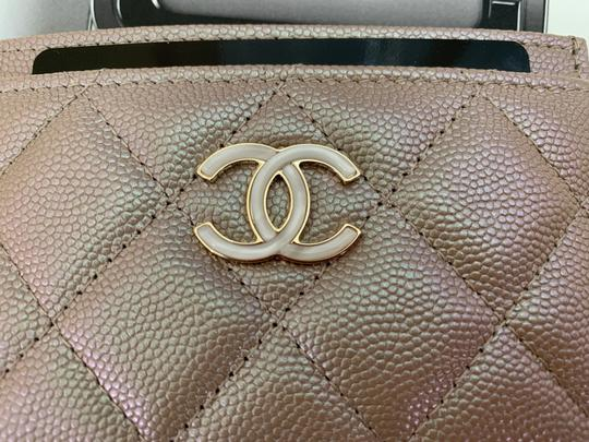 Chanel Beige Iridescent Quilted Leather Card Holder Image 2
