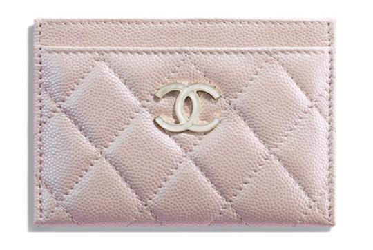 Chanel Beige Iridescent Quilted Leather Card Holder Image 3