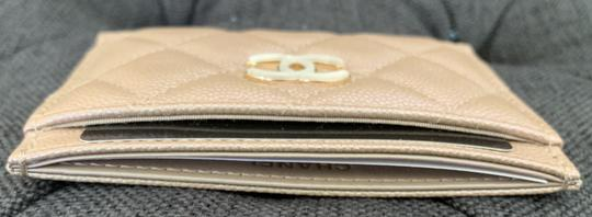 Chanel Beige Iridescent Quilted Leather Card Holder Image 4