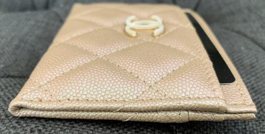 Chanel Beige Iridescent Quilted Leather Card Holder Image 6