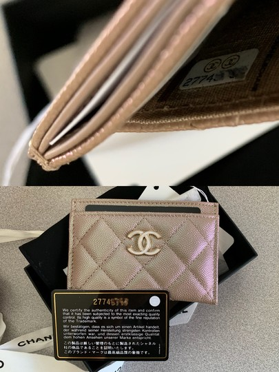Chanel Beige Iridescent Quilted Leather Card Holder Image 8