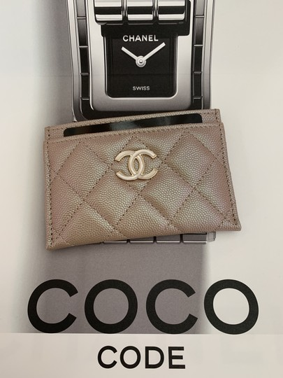 Chanel Beige Iridescent Quilted Leather Card Holder Image 9