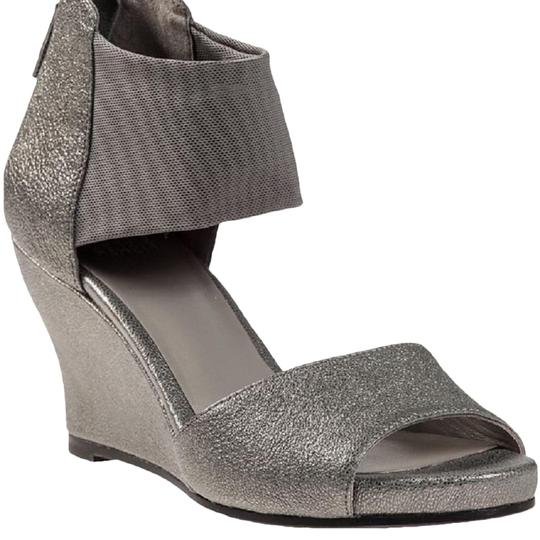 Eileen Fisher Crossover Sandal Metallic Memory Foam Pewter Wedges Image 0
