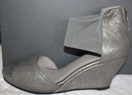 Eileen Fisher Crossover Sandal Metallic Memory Foam Pewter Wedges Image 1