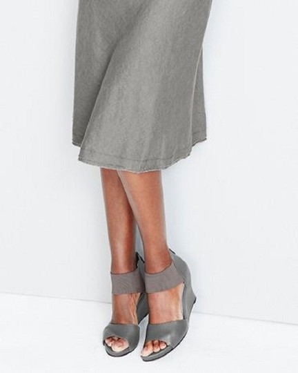 Eileen Fisher Crossover Sandal Metallic Memory Foam Pewter Wedges Image 2