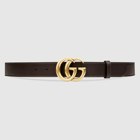 Gucci Brown Leather Double G Belt size 75, 3cm wide Image 2