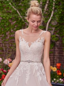 Maggie Sottero Ivory Over Antique Blush Lace Fabric Olivia Modern Wedding Dress Size 10 (M)