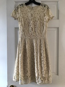 J.Crew Ivory Lace Alisa In Leavers C5466 Casual Bridesmaid/Mob Dress Size 4 (S)