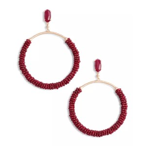 Kendra Scott Russel Maroon Jade Beaded Hoop Earrings