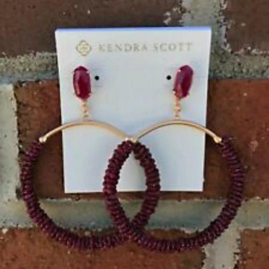 Kendra Scott Russel Maroon Jade Beaded Hoop Earrings Image 1