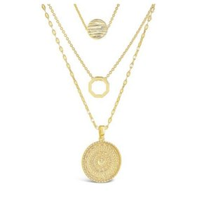 Sterling Forever Sterling Forever 14K Plated Disc Layered Necklace