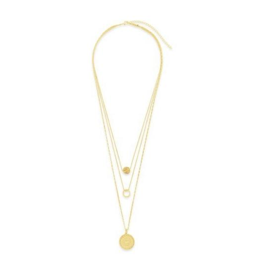 Sterling Forever Sterling Forever 14K Plated Disc Layered Necklace Image 1