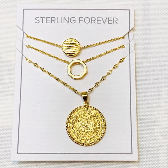 Sterling Forever Sterling Forever 14K Plated Disc Layered Necklace Image 2