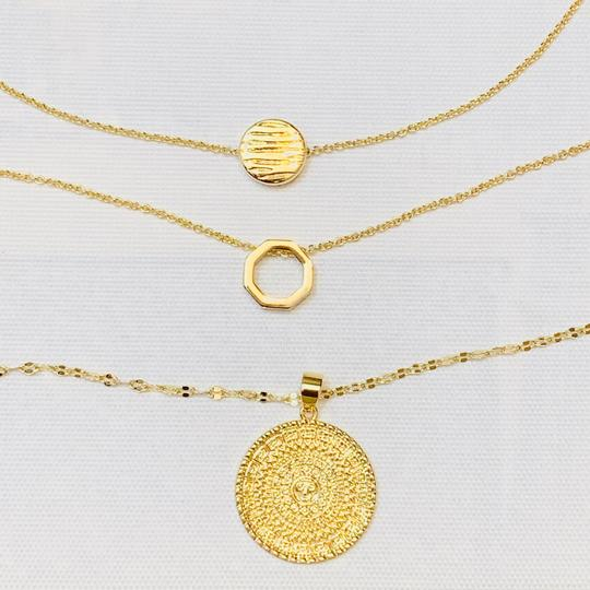Sterling Forever Sterling Forever 14K Plated Disc Layered Necklace Image 5