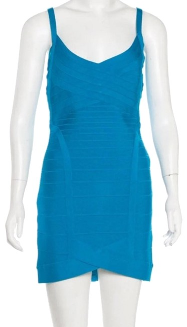 Item - Teal Courtney Mini Bandage Short Cocktail Dress Size 12 (L)