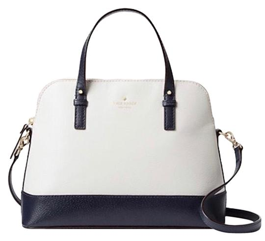 Preload https://img-static.tradesy.com/item/25839199/kate-spade-shoulder-bag-new-rachelle-rare-tote-purse-navy-cement-cream-ivory-white-leather-satchel-0-1-540-540.jpg