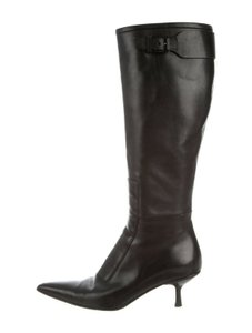 Gucci Leather Classic Low Heel Knee High Black Boots