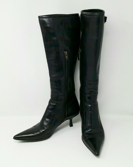 Gucci Leather Classic Low Heel Knee High Black Boots Image 1