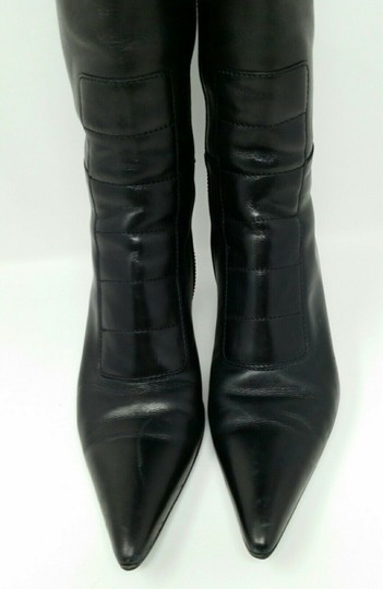 Gucci Leather Classic Low Heel Knee High Black Boots Image 2