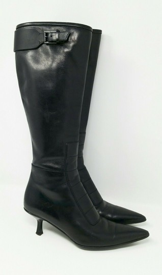 Gucci Leather Classic Low Heel Knee High Black Boots Image 3