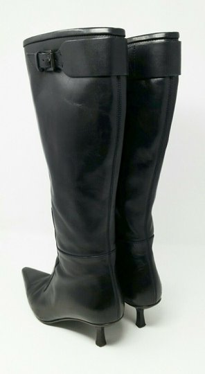 Gucci Leather Classic Low Heel Knee High Black Boots Image 4