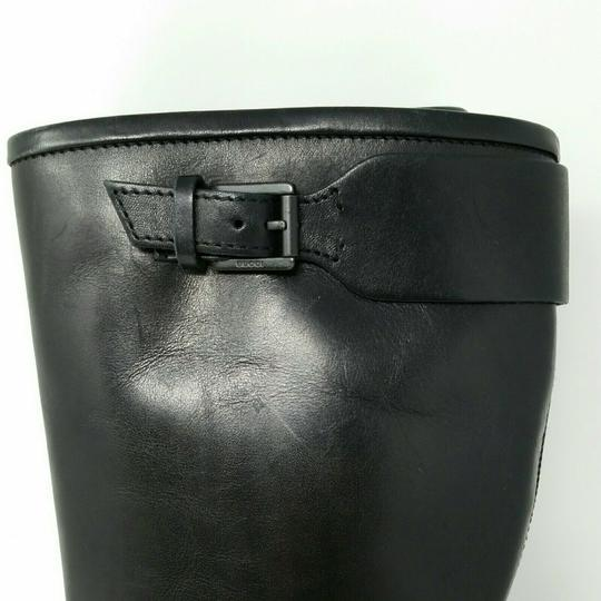 Gucci Leather Classic Low Heel Knee High Black Boots Image 5