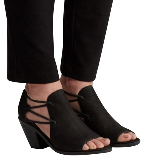 Eileen Fisher Crossover Peep Toe Black Boots Image 0