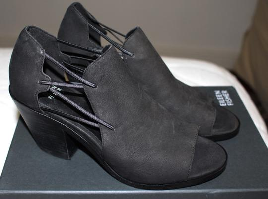 Eileen Fisher Crossover Peep Toe Black Boots Image 2