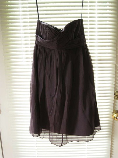 J.Crew Black Plum Silk Chiffon Feminine Bridesmaid/Mob Dress Size 4 (S)