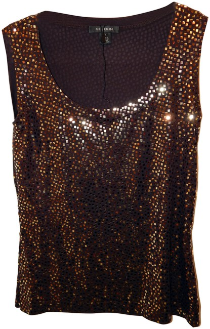 Item - Brown Bronze Paillette Shell Tank Blouse Size 6 (S)