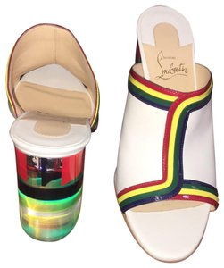 Christian Louboutin Stripe Rainbow Colorful Color-blocking Transparent white Mules