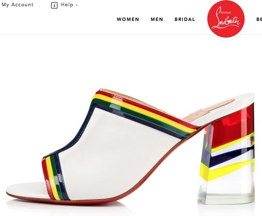 Christian Louboutin Stripe Rainbow Colorful Color-blocking Transparent white Mules Image 10