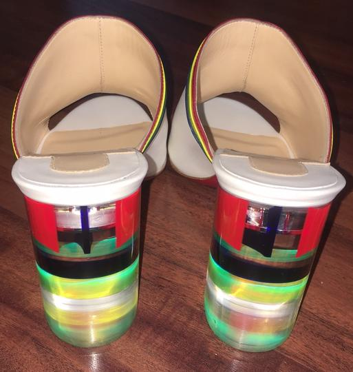Christian Louboutin Stripe Rainbow Colorful Color-blocking Transparent white Mules Image 2